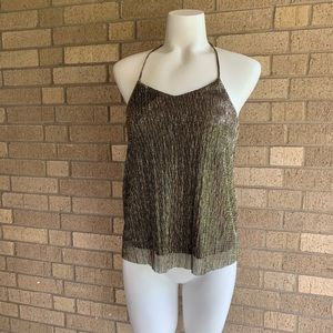 Express XS Silver Gold Metallic Tank Cami Top Glam